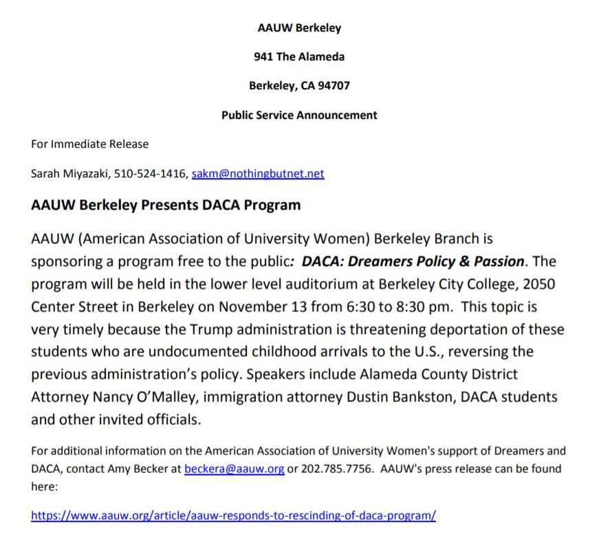 DACA: Dreamers & Passion press release