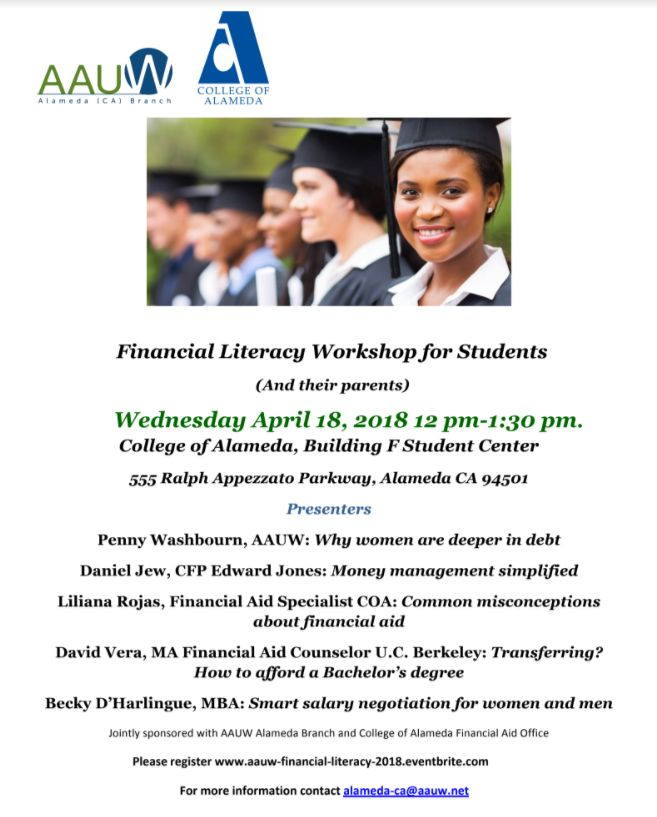 Flyer: Financial Literacy Workshop for Students, 4/18/2018, 12 PM - 1:30 OM, College of Alameda Student Centerr
